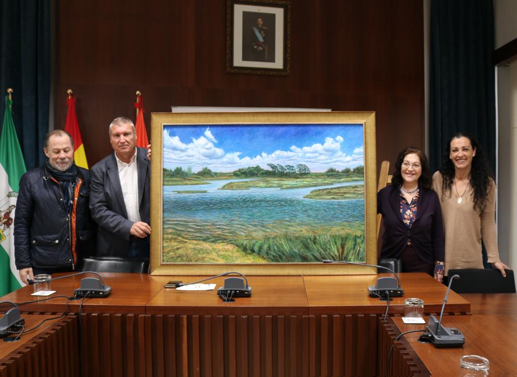 Donación de un óleo sobre La Ribera al Ayuntamiento de Cartaya