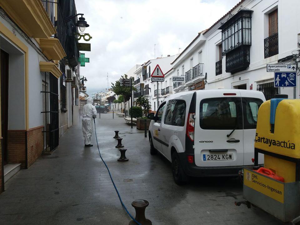 Tareas de desinfección en Cartaya