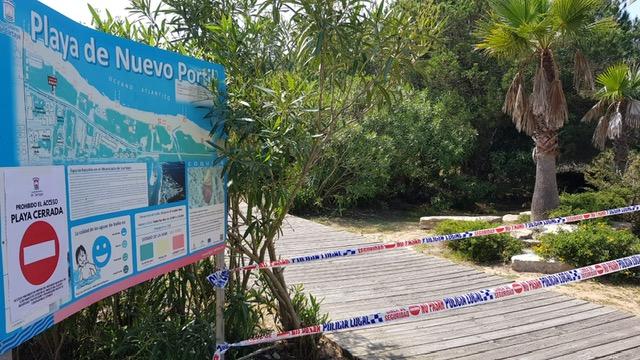 el Ayuntamiento cierra playas, parques y jardines públicos en Cartaya.